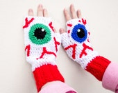 Eyeball Fingerless Gloves - Spooky Red, White and Custom Colour Eye Texting Gloves - Halloween Winter Hand Warmers - Goth Anatomical Gloves