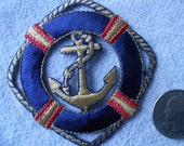 Large Navy Blue Life Ring with Gold Anchor Iron-On Applique