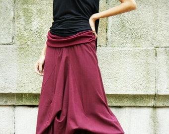 NEW   BURGUNDY  Linen Maxi Skirt /  Extravagant Long  Skirt / Stripe less Spring /Summer Dress A09118