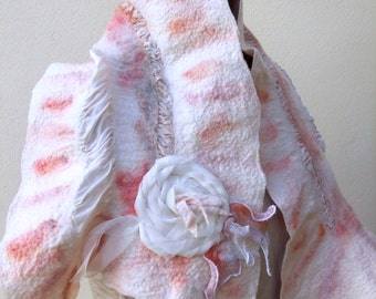Handfelted, romantic Nuno silk wrap/scarf/stole. White silk and apricot wool Ruffle scarf. Soft warm Merino wool. A unique, practical gift.