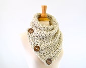 ON SALE Crochet Chunky Neck Warmer Cowl Scarf with Three Natural Coconut Shell Buttons // The North Bay // in Wheat