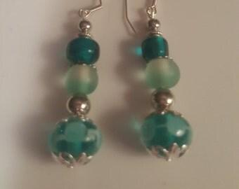 Turquoise Polka dot Earrings - Free Shipping