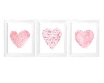 Pink Girls Wall Decor, Set of 3 - 11x14 Prints, Pink Watercolor Hearts, Pink Nursery Art, Pink Nursery Decor, Pink Heart Art, Girls Decor
