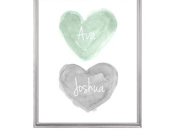 Mint and Gray Twins Nursery Art, Boy Girl Twins Gift, Personalized Twins Gift, Mint and Gray Nursery Decor, Mint and Gray Sister Brother