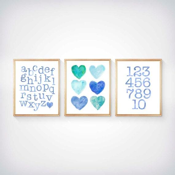 Aqua Kids Wall Decor, Aqua Blue Playroom Decor, Toddler Wall Decor, 8x10 Set of 3  Prints, Aqua Nursery, Aqua ABC 123, Blue Playroom Decor