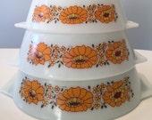 Vintage JAJ Pyrex Set of 3 Sunflower Dishes