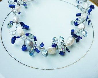 Lapis Blue Crystals and Ivory Pearls Twisted Wreath Bracelet