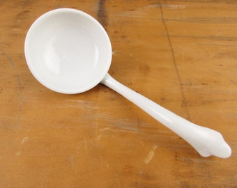White on White Sauce Ladle -  Porcelain - Round Sauce Ladle  - Collect and Use - White on White - Mix and Match