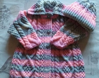 Beautiful hand knitted flared Aran Coat with matching Hat for Baby Girl/OOAK/20ins/6-12mths