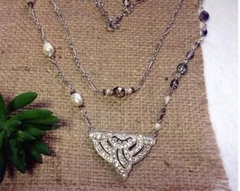 Art Deco Rhinestone Dress Clip Redesigned Necklace Crystals Fresh Water Pearls Layered Matte Silver Handmade Repurposed Original WishAnWear