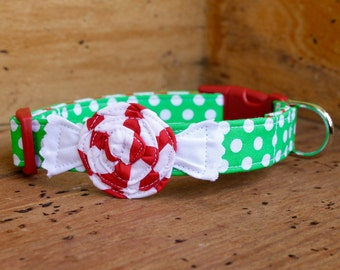Peppermint Dog Collar - Christmas Dog Collar - Green Polka Dot with Red/White Peppermint Candy