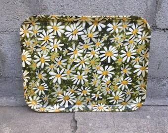 60's Daisy Flower Motif Rectangular Fiberglass Tray