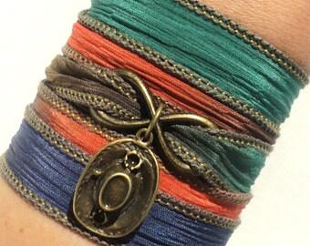 Boho Silk Wrap Bracelet - Cowgirl Hat Bracelet - Horse Jewelry - Teen Gift Idea - Best Friend Gift - Yoga Jewelry - Rustic Jewelry - Boho