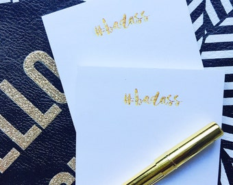 Badass Post-It Notes | Sticky Notes - Gold Desk Accessories - Gold Badass Post It Notes - Gold Sticky Notes