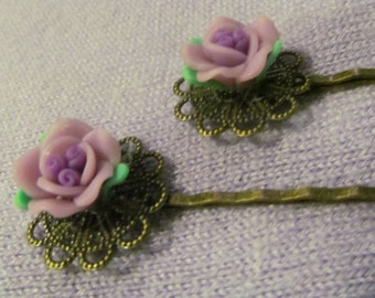 Purple Rose Bronze Bobby pins