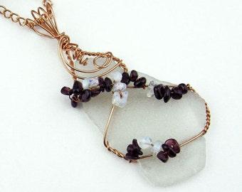 Pendant, Natural Sea Glass, Red Garnet,  Moonstone, Semi Precious Stones, Copper Wire, Frosted White, Dramatic Pendant, Handmade Necklace