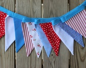 50% off SALE! Patriotic Picnic Fabric Pennant Banner. Retro 4th of July Bunting. Cherries. Americana. Red White Blue. Fourth of July.