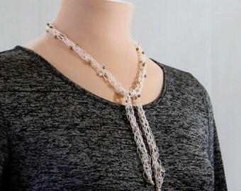 Ivory Beaded Lariat Necklace, Cream Beaded Lariat Necklace, Ivory Y Necklace, Lacy Lariat Necklace