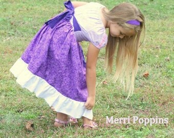 Tangled Peasant Dress, Rapunzel Disney inspired dress, Princess dress,Costume, Disney, Christmas, Dress Up, Every Day Play Wear, Handmade
