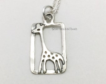 Giraffe Sterling silver charm. Expecting mom gift. New mom gift. Young girl gift. Niece birthday. Granddaughter. Daughter birthday gift.