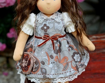 Waldorf doll natural hair, organic doll, Christmas, eco friendly, doll steiner, gift girl, doll game, gift for birthday, Olechka, 16 inch