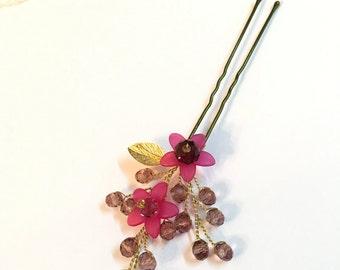 Crystal hair pin, flower hair pin, hair accessories, bridal hair pin, wedding hair pins, bridesmaid hair pin, bridesmaid gift, hair pins