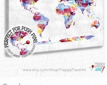 Push Pin World Map, Large colourful map, Abstract World Map, Watercolor Map, Girls Wall Art, Big World Map World Map on canvas, Teen girl