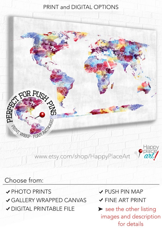 Push pin world map large colourful map abstract world map like this item gumiabroncs Images