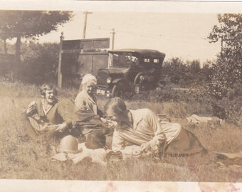 Antique Snapshot Photo of a Women Having Picnic Lunch in Salisbury Massachusetts