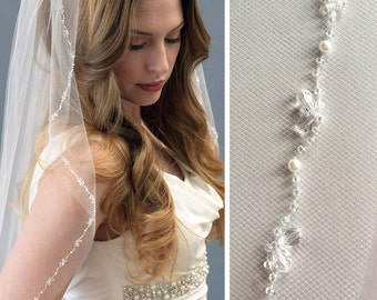 Crystal Beaded Wedding Veil, Pearl Bridal Veil, Ivory Veil, Fingertip Length Veil, Veil for Bride, Veil with Comb, Bridal Headpiece ~VB-5055