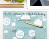 Desk Pad - Hopes Dreams & Wishes Desk Jotter - office home stationery notepad