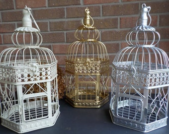 Bird Cage Wedding Card Holder, Ivory, Gold, Silver Birdcage, Hexagon Bird Cage Card Box, Shower Decor, Money Holder, Custom Colors