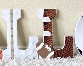 Sport themed Nursery Baby Boy Name, Wooden Wall Letters -Football, Basketball, Baseball, Soccer, Golf,  Personalized Baby Gift,