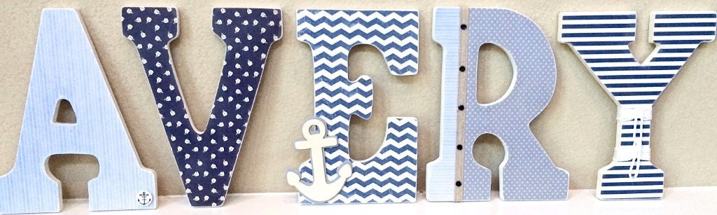 Nautical baby boy name wooden wall letters personalized zoom negle Gallery
