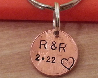 Custom penny keychain, Boyfriend/Girlfriend Gift, Anniversary gift for men, Husband Gift, Stamped Penny, Our Lucky Day,  Date and Initials