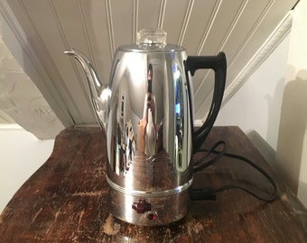 VIntage 1950s MidCentury Universal Coffeematic Model EA-4428 8 Cup Chrome Retro Electric Percolator Coffee Pot