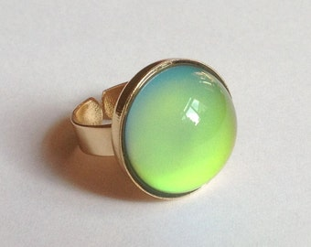 Mood Ring 24k Gold Plated - 20 mm Large Deluxe Mood Stone color changing
