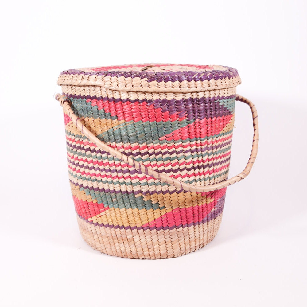 Basket Weaving Tribes : Large colorful woven tribal basket