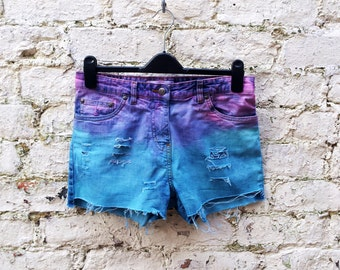 Denim Shorts Pink & Turquoise Ombre Ripped Denim Cut Off Jean shorts ALL Sizes Available, Custom Made to Order
