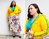 Plus Size - Vintage Yellow Knit Sports Zipper Jacket (Size 12/14)