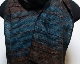 Handwoven Brown and Blue Twill Striped Scarf