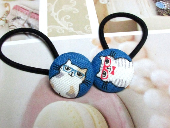 Button Ponytail Holders, Navy Blue Ponytail Holder, Cats Ponytail Ties, Kawaii Ponytail Holder, Girl Ponytail Tie, Cute Rubber Ties,  Retro