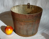 Antique Sap Bucket in old paint, iron bands, maple syrup