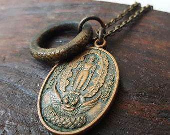 Vintage Bronze Garuda and Buddha Necklace