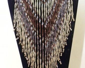 Southwest Style Hand Beaded Bib  Necklace