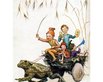 Fairy Fabric Block - Toad Pulls a Wagon Made From a Bird's Nest - Repro Margaret Tarrant