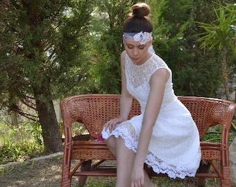 SALE Short Wedding Dress, Tea Length Dress, White Wedding Dress, 1950 Inspired Dress, Lace Wedding Dress, Cap Sleeves Dress, Simple Dress