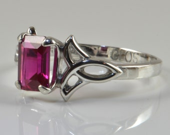 Celtic Ruby Ring in Sterling Silver, Ruby faceted octagon gemstone, Delicate Celtic Statement Ring