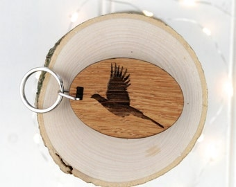 Pheasant Keyring - Animal Lover Gift - Birthday Gift For Him - Personalised Keyring - Wooden Keyring - Hotel Keyring - Garage Key - Country