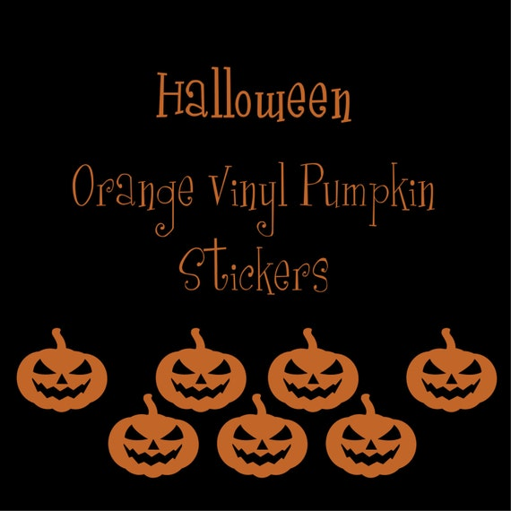 40 2 inch Jack O' Lantern Pumpkin Orange Vinyl Stickers, Halloween, Envelope Seals, Party Favors, Party Glasses, Unlimited Possibilities